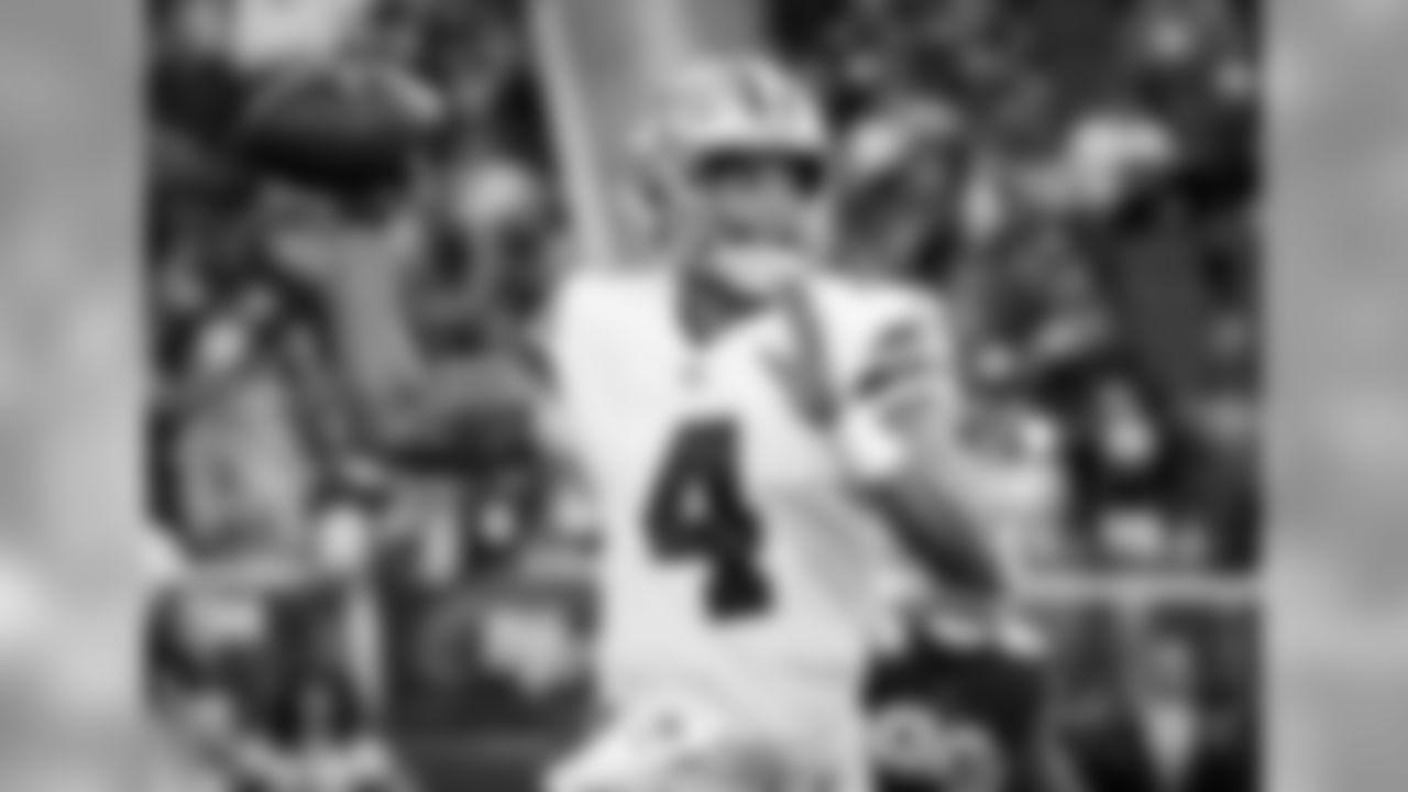 Dallas Cowboys quarterback Dak Prescott throws a pass against the San Francisco 49ers during the first half of an NFL preseason football game in Santa Clara, Calif., Thursday, Aug. 9, 2018. (AP Photo/Tony Avelar)