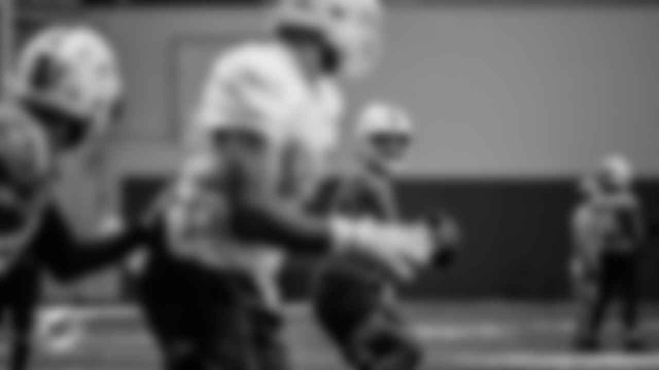 Miami Dolphins quarterback Tua Tagovailoa (1) during training camp at the Baptist Health Training Complex on Friday, Aug. 27, 2021 in Miami Gardens, Fla. (Carlos Goldman/ Miami Dolphins via AP)