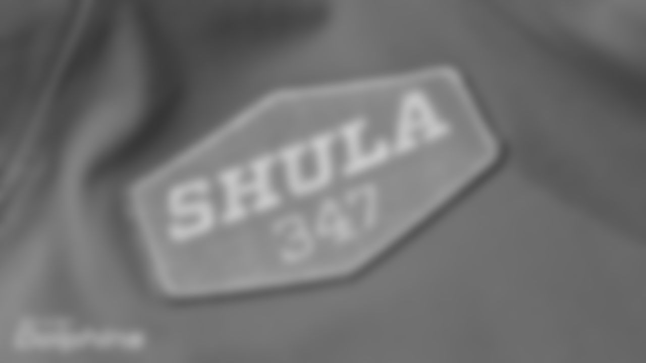 Shula patch being sewed onto jersey by Ana in Davie, FL on August 11th, 2020. (Carlos Goldman /Hard Rock Stadium)