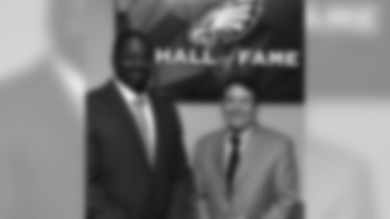 Merrill Reese and Jeremiah Trotter were honored at a Hall of Fame brunch Sunday at Lincoln Financial Field