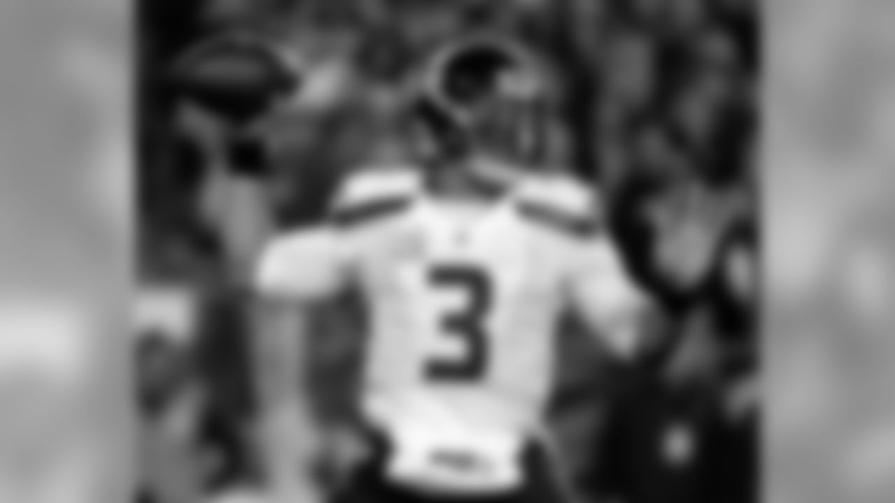 QB Russell Wilson was drafted by the Seahawksout of Wisconsin in 2012. Wilson led the Seahawks to a Super Bowl XLVIII title, and currently has 2,442 passing yards for 10 touchdowns this season.