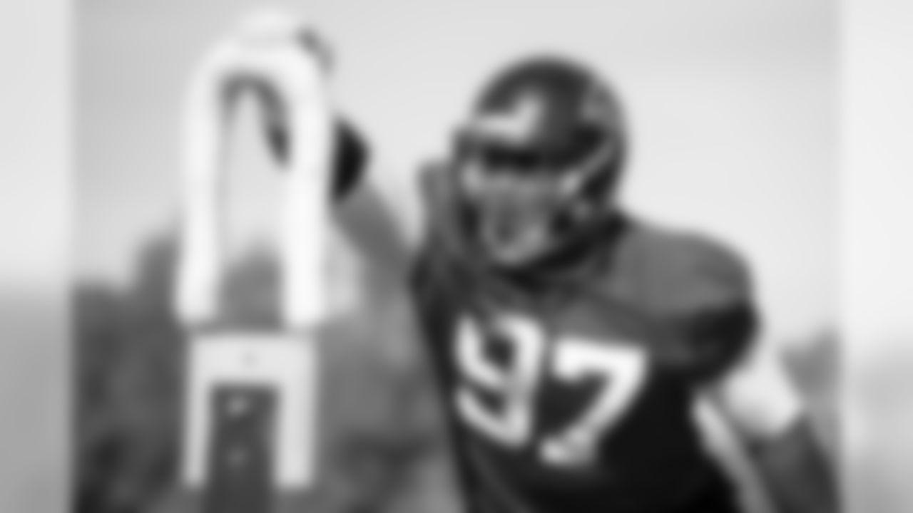Atlanta Falcons defensive tackle Grady Jarrett #97 works during practice. (Photo by Kara Durrette/Atlanta Falcons)