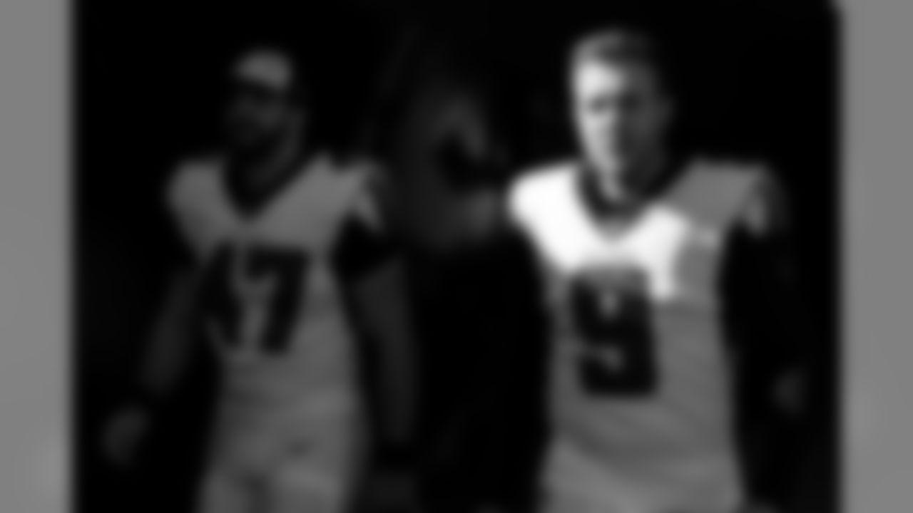Atlanta Falcons punter Ryan Allen #9  walks out to the field with long snapper Josh Harris #47 at Levi's Stadium in Santa Clara, CA, on Sunday December 15, 2019. (Photo by Kara Durrette/Atlanta Falcons)
