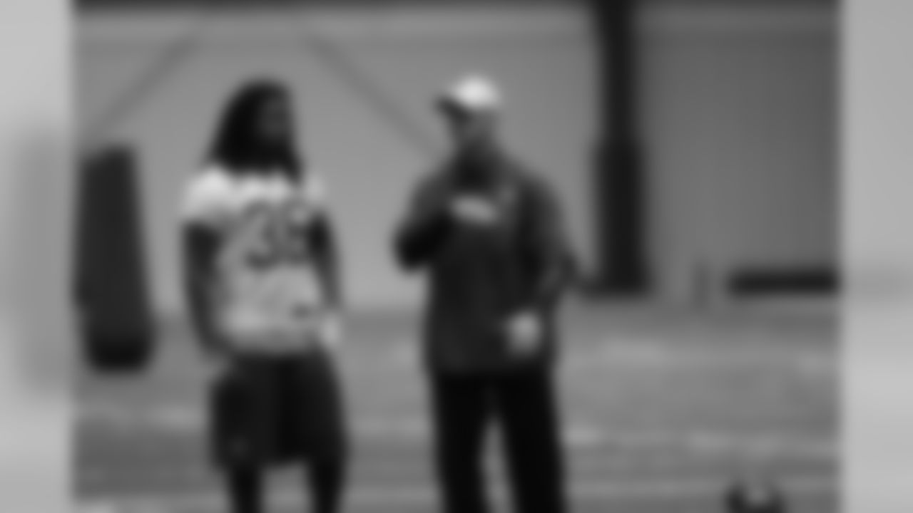 Safety Kemal Ishmael and defensive backs coach Joe Danna