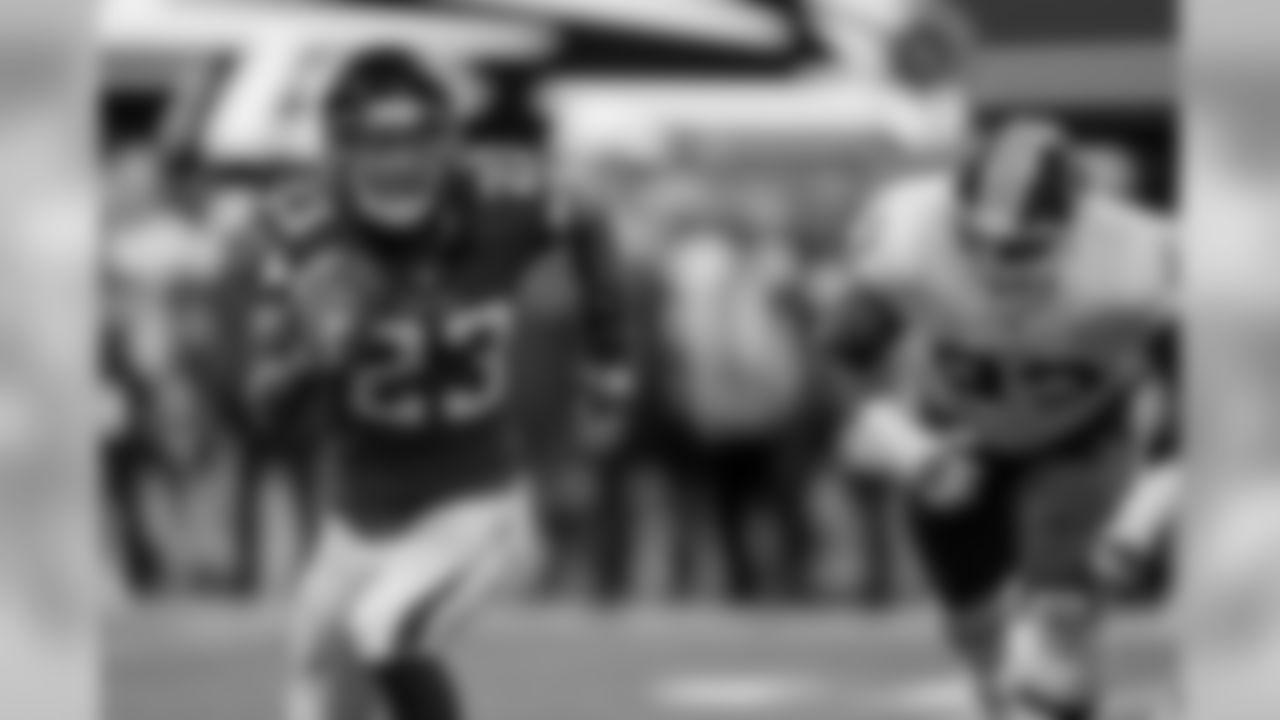 Atlanta Falcons running back Brian Hill #23 runs the ball during the game against the Washington Redskins at Mercedes-Benz Stadium in Atlanta, Georgia, on Thursday August 22, 2019. (Photo by Kelly Kline/Atlanta Falcons)