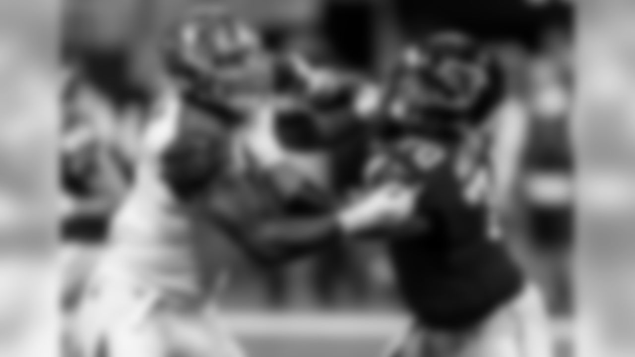 Atlanta Falcons offensive tackle Jake Matthews #70 in action against Tampa Bay Buccaneers defensive tackle William Gholston #92 at Mercedes-Benz Stadium in Atlanta, GA, on Sunday November 24, 2019. (Photo by Kara Durrette/Atlanta Falcons)