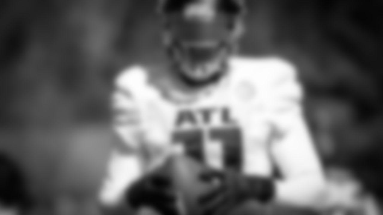 Atlanta Falcons wide receiver Julio Jones #11 looks on during practice at IBM Performance Field. (Photo by Kara Durrette/Atlanta Falcons)