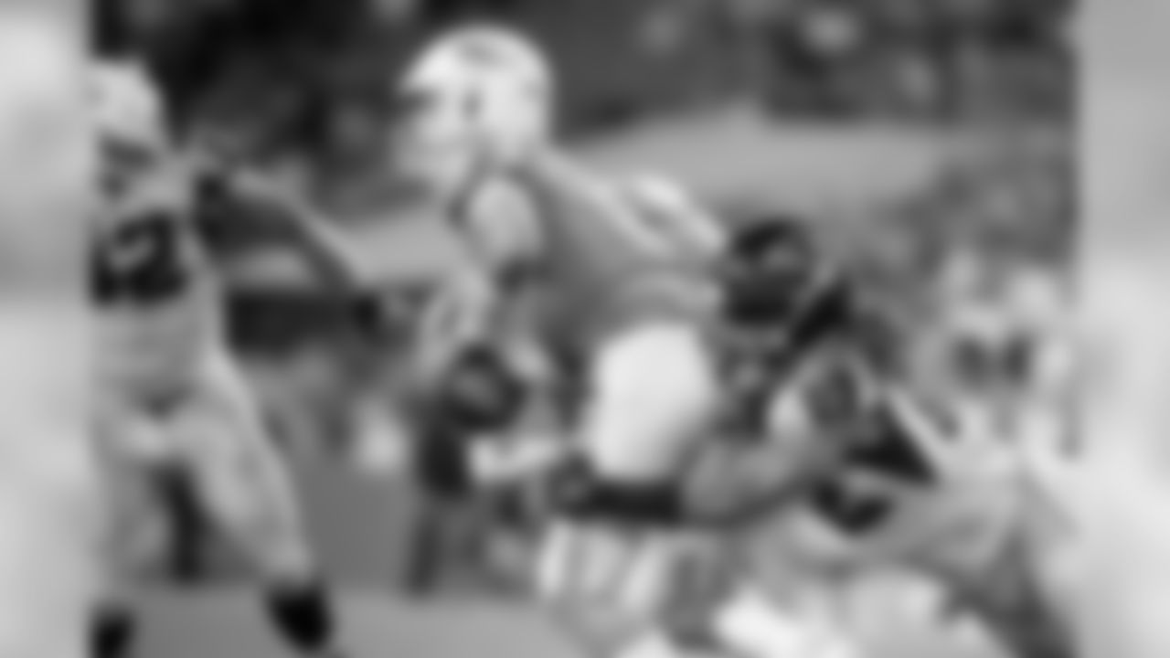 Atlanta Falcons defensive end Austin Larkin #62 sacks Miami Dolphins quarterback Josh Rosen #3 during the first half of the game at Hard Rock Stadium in Miami Gardens, Florida, on Thursday August 8, 2019. (Photo by Kara Durrette/Atlanta Falcons)