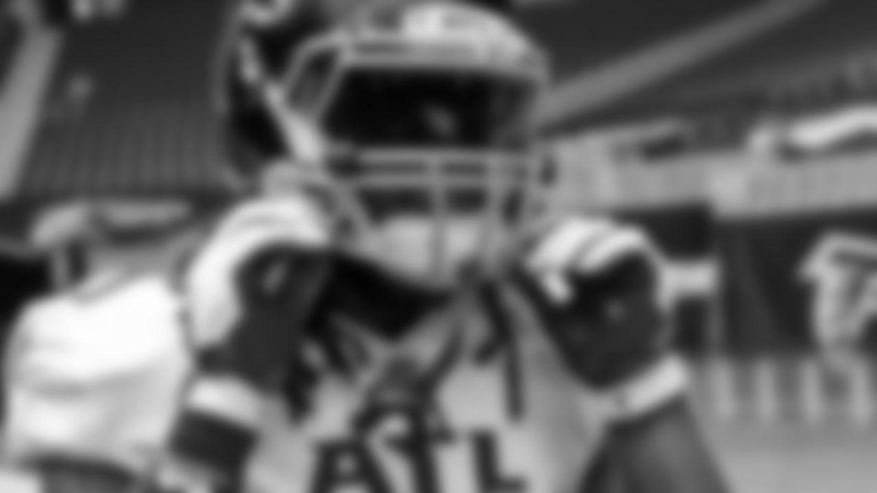 Atlanta Falcons running back Todd Gurley #21 looks on before the game against the Denver Broncos on November 8, 2020. (Photo by Matt Haley/Atlanta Falcons)