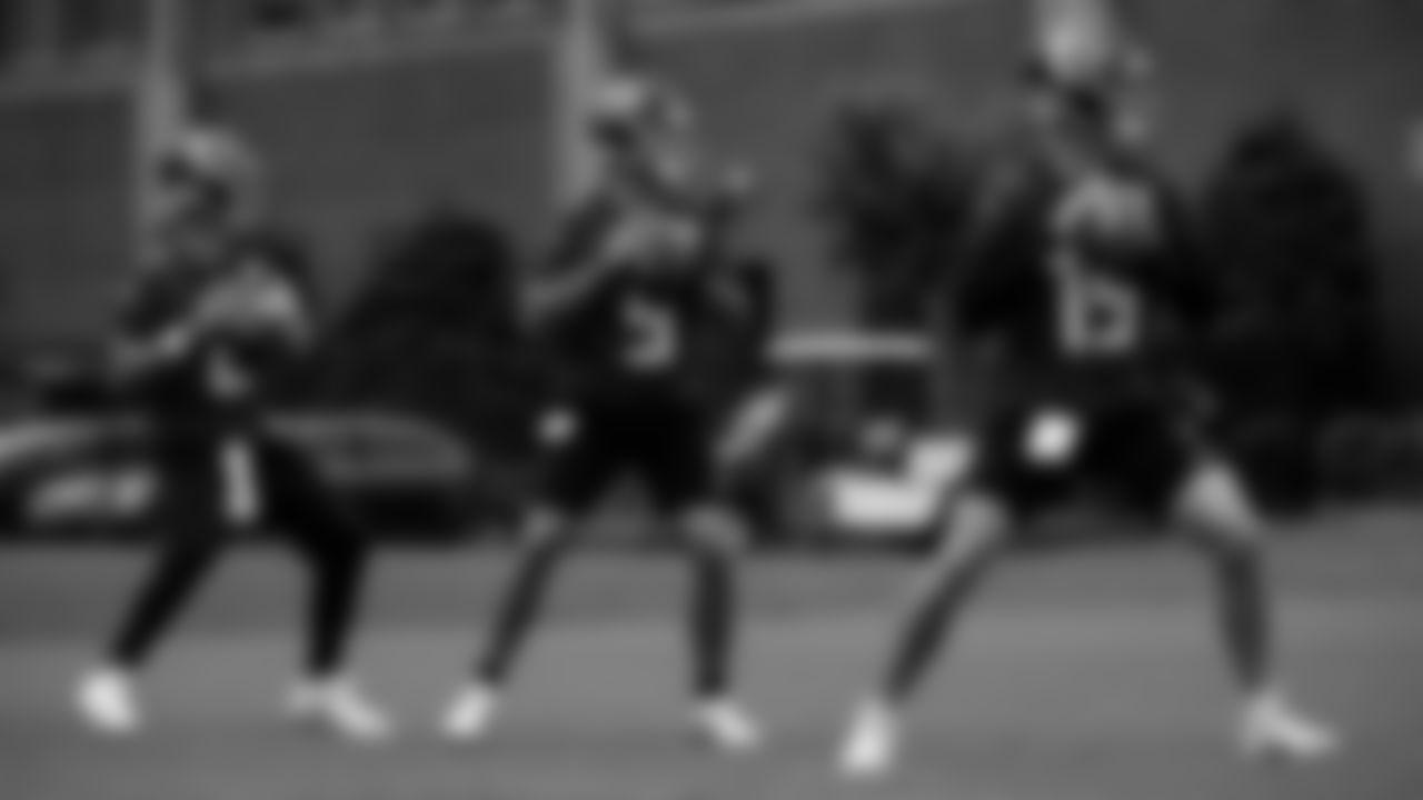 The quarterbacks work during Atlanta Falcons minicamp on June 10, 2021.