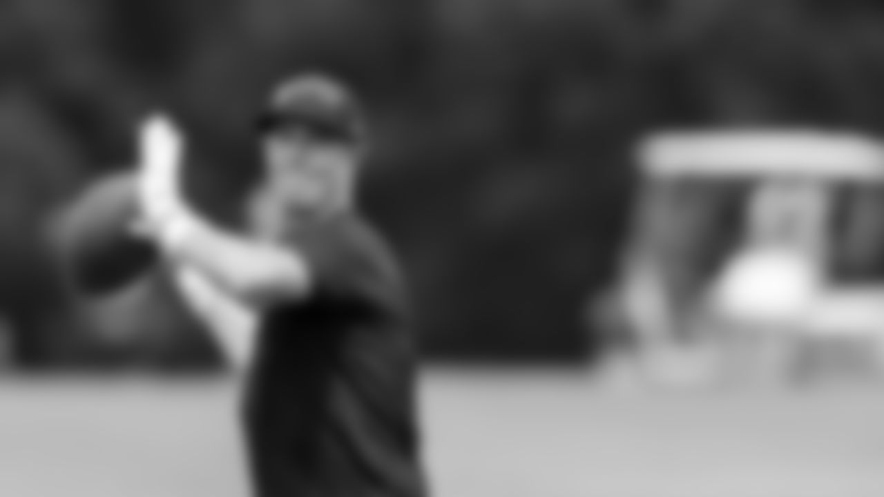 Atlanta Falcons quarterback Matt Ryan #2 throws the ball at AT&T Atlanta Falcons Training Camp on August 11, 2020 in Flowery Branch, GA. (Photo by Kara Durrette/Atlanta Falcons)