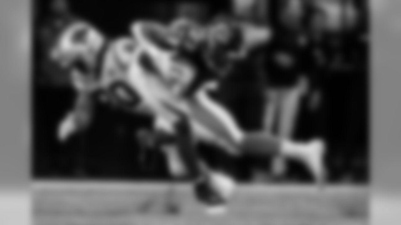 Atlanta Falcons strong safety Damontae Kazee #27 makes a interception against the Carolina Panthers at Mercedes-Benz Stadium in Atlanta, GA, on Sunday December 8, 2019. (Photo by Kyle Hess/Atlanta Falcons)