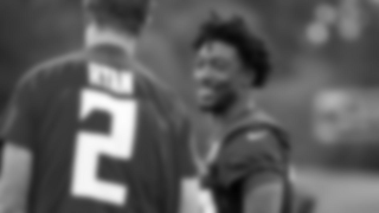 Atlanta Falcons wide receiver Calvin Ridley #18 talks with quarterback Matt Ryan #2 during practice at IBM Performance Field. (Photo by Kara Durrette/Atlanta Falcons)