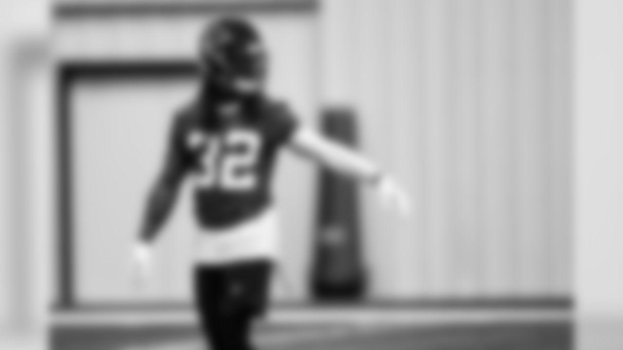Atlanta Falcons defensive back [Johnathan Cyprien](https://www.atlantafalcons.com/team/players-roster/johnathan-cyprien/) #32 focuses on instruction during practice. (Photo by Kara Durrette/Atlanta Falcons).