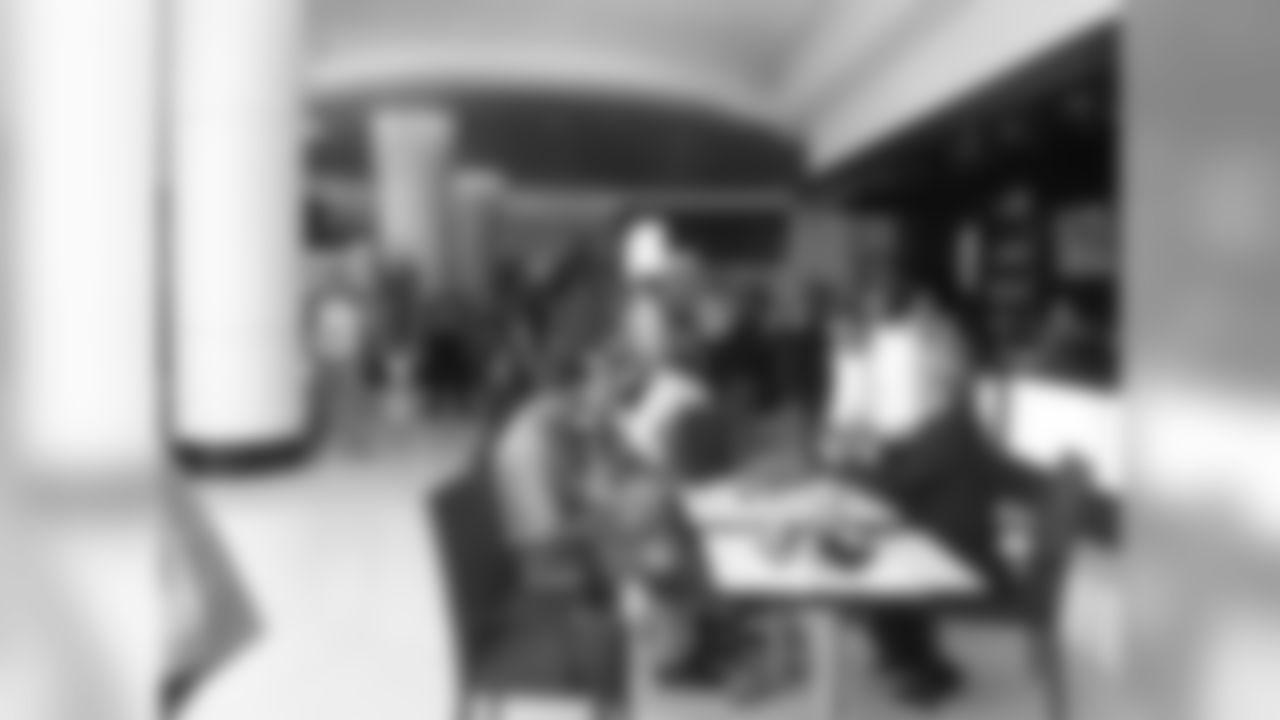 Media members grab lunch in the hotel lobby // Owners Meeting // July 21, 2011 // Atlanta -
