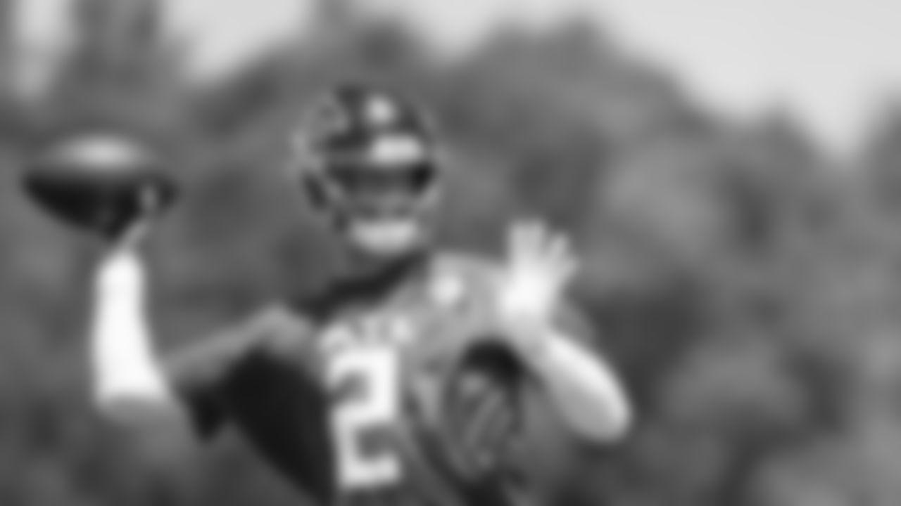 Atlanta Falcons quarterback Matt Ryan #2 throws the ball during organized team activities in Phase III of the Atlanta Falcons offseason program on May 27, 2021.