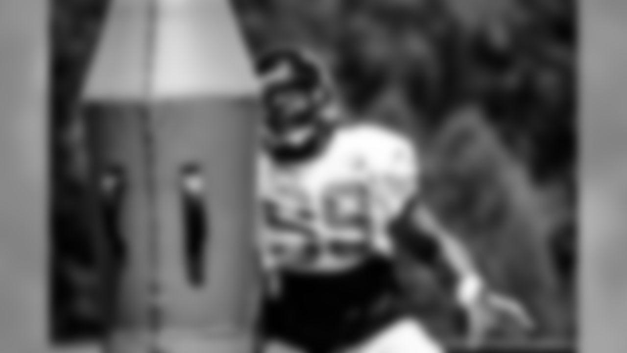 Atlanta Falcons defensive end Adrian Clayborn #99 runs a drill during practice. (Photo by Kara Durrette/Atlanta Falcons).