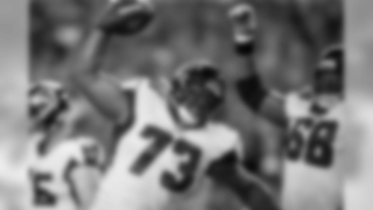 Atlanta Falcons offensive tackle Matt Gono #73 spikes the ball at Hard Rock Stadium in Miami Gardens, Florida, on Thursday August 8, 2019. (Photo by Kara Durrette/Atlanta Falcons)
