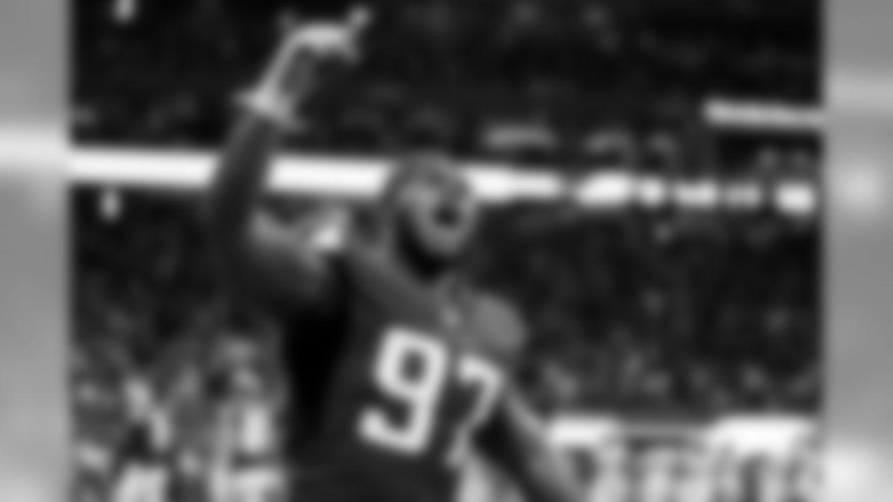 Atlanta Falcons defensive tackle Grady Jarrett #97 celebrates after the Atlanta Falcons defeated the Philadelphia Eagles 24-20 at Mercedes-Benz Stadium in Atlanta, GA, on Sunday September 15, 2019. (Photo by Kelly Kline/Atlanta Falcons)