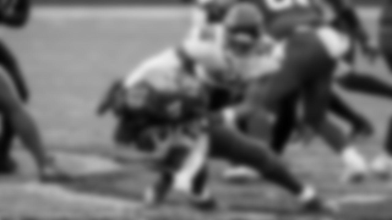 Atlanta Falcons defensive end Dante Fowler Jr. #56 sacks Tampa Bay Buccaneers quarterback Tom Brady #12 against the Tampa Bay Buccaneers on January 3, 2021.