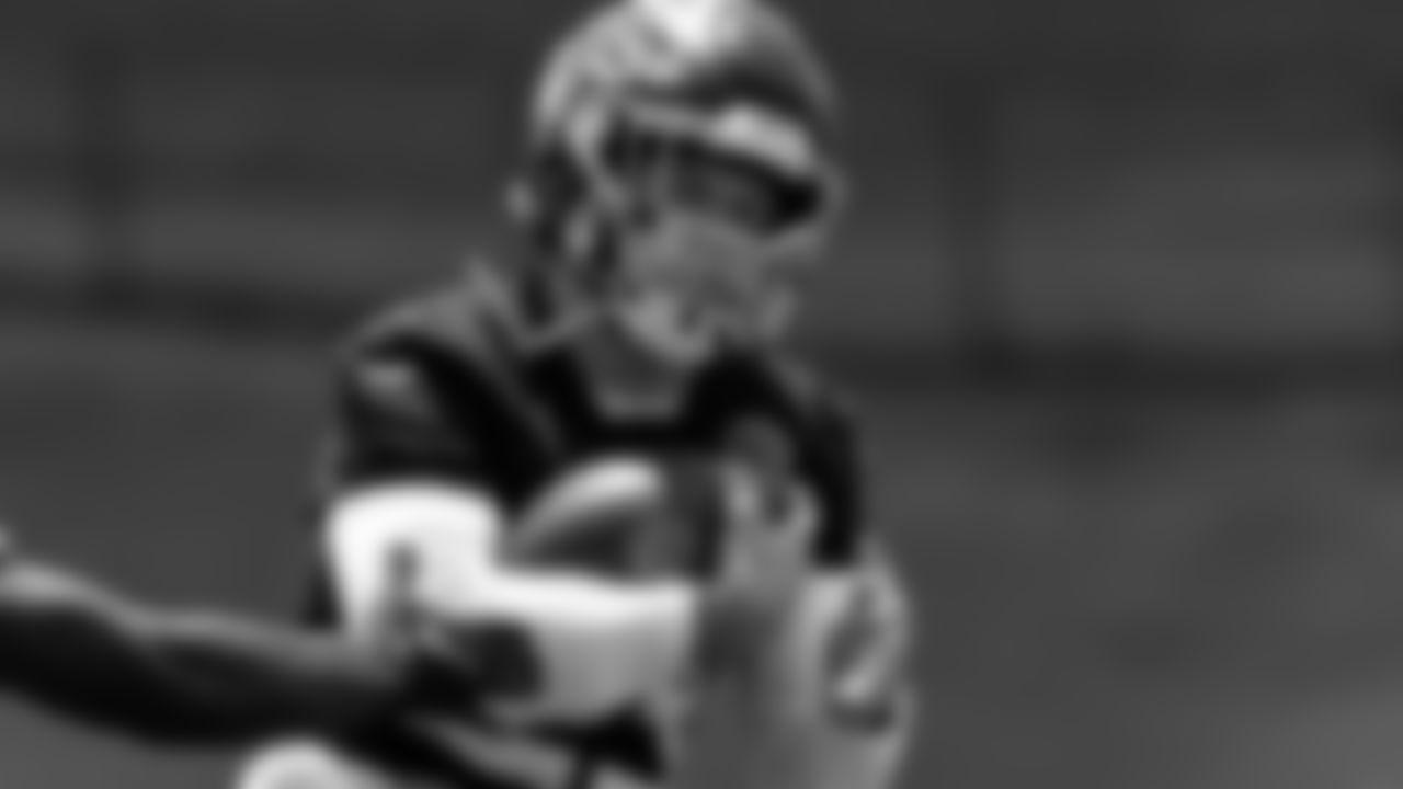 Atlanta Falcons free safety Erik Harris #23 makes an interception during organized team activities in Phase III of the Atlanta Falcons offseason program on May 26, 2021.