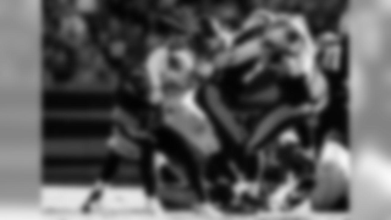 Atlanta Falcons defensive end Adrian Clayborn #99 sacks Carolina Panthers quarterback Kyle Allen #7 at Bank of America Stadium in Charlotte, NC, on Sunday November 17, 2019. (Photo by Kara Durrette/Atlanta Falcons)