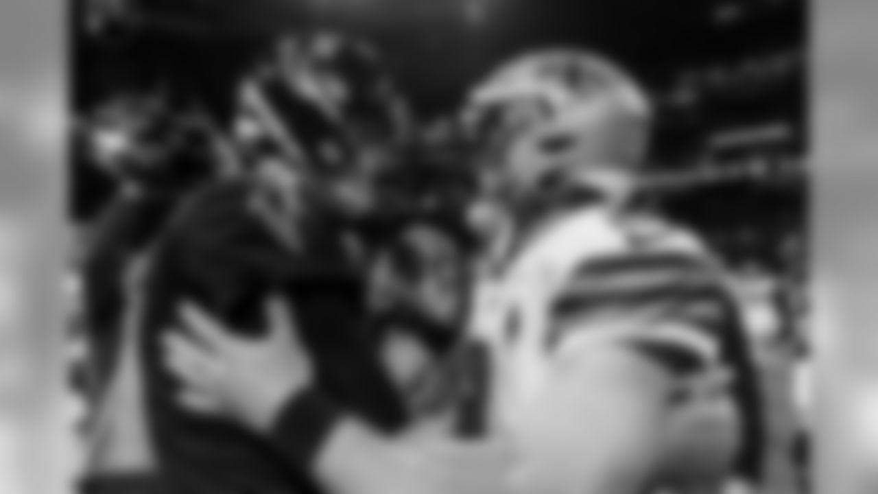 Atlanta Falcons quarterback Matt Ryan #2 and New Orleans Saints quarterback Drew Brees #9 meet after after the game between the Atlanta Falcons and the New Orleans Saints at Mercedes-Benz Stadium in Atlanta, GA, on Thursday November 28, 2019. (Photo by Kara Durrette/Atlanta Falcons)
