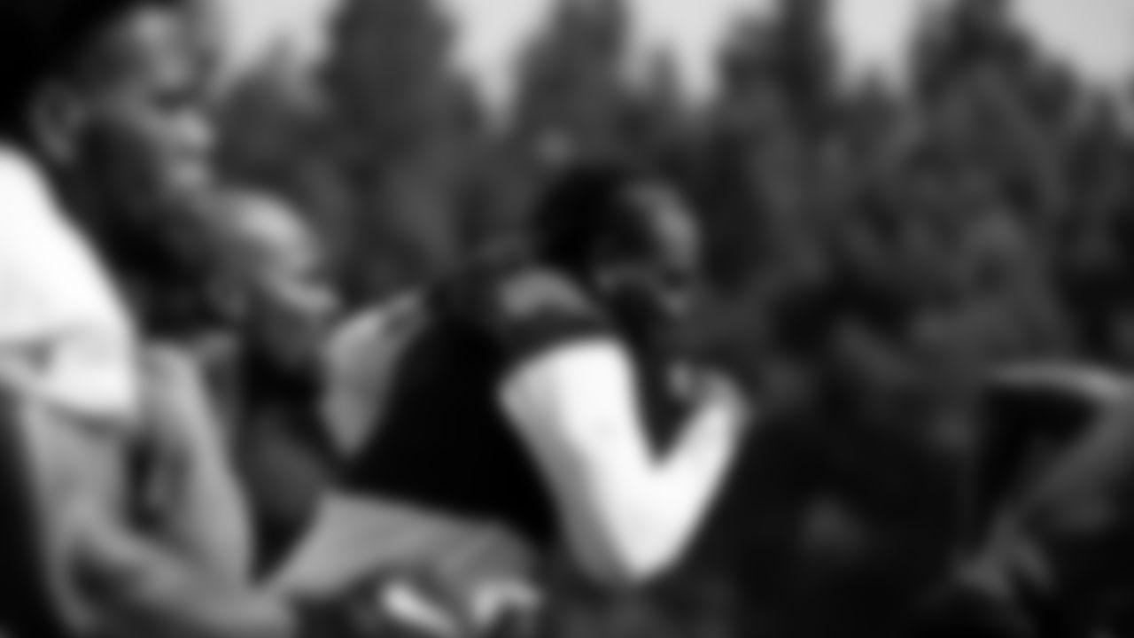 Atlanta Falcons running back Caleb Huntley #42, running back Mike Davis #28, wide receiver Cordarrelle Patterson #84 and running back Javian Hawkins #25 run the hill at AT&T Atlanta Falcons Training Camp on July 29, 2021. (Photo by Kara Durrette/Atlanta Falcons)