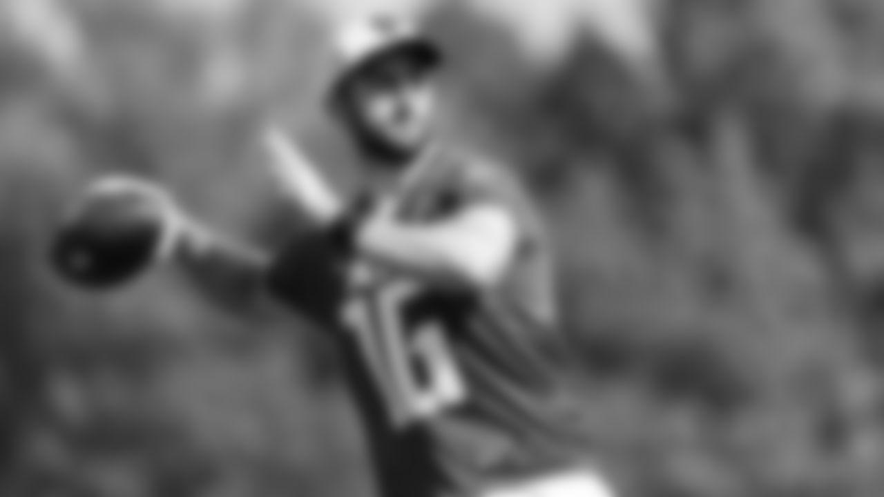 Atlanta Falcons quarterback Josh Rosen #16 throws a ball during AT&T Atlanta Falcons Training Camp at Atlanta Falcons Headquarters in Flowery Branch, Georgia, on Friday August 27, 2021. (Photo by Dakota Williams/Atlanta Falcons)
