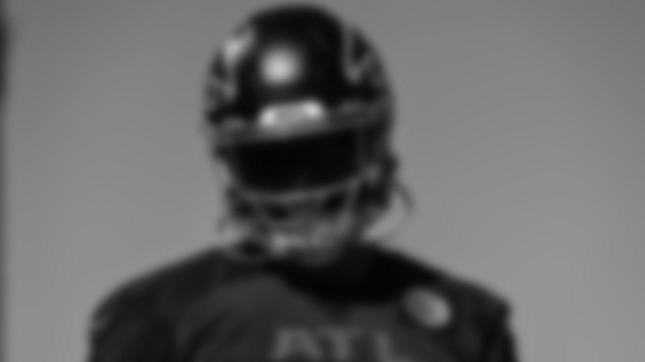 Atlanta Falcons linebacker Jacob Tuioti-Mariner #91 during team practice at Atlanta Falcons Headquarters in Flowery Branch, Georgia, on Friday September 24, 2021. (Photo by Brandon Magnus/Atlanta Falcons)