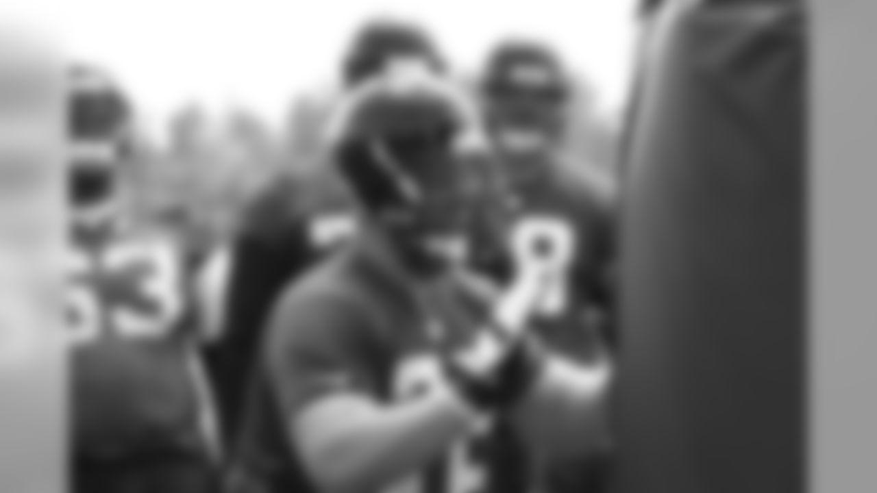 T Sam Baker participates in a drill