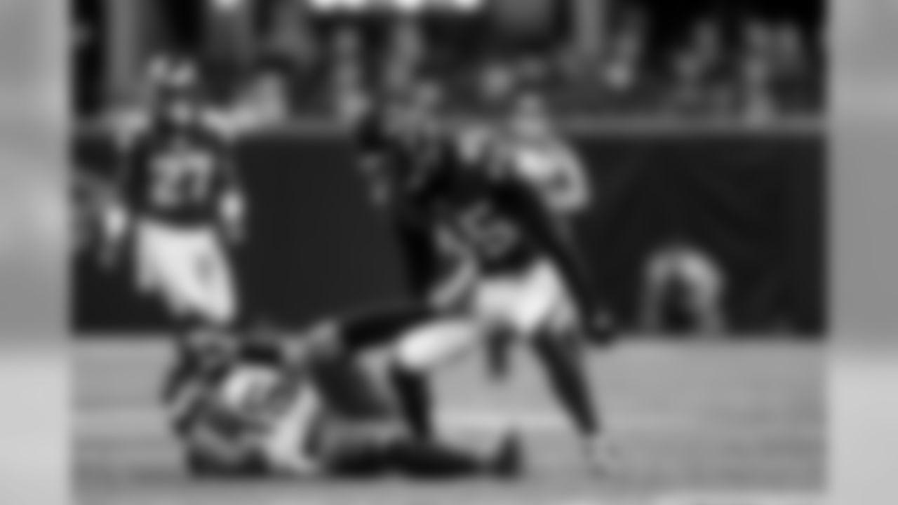 Atlanta Falcons linebacker Deion Jones #45 stands over Jacksonville Jaguars quarterback  Gardner Minshew II #15 at Mercedes-Benz Stadium in Atlanta, GA, on Sunday December 22, 2019. (Photo by AJ Reynolds/Atlanta Falcons)