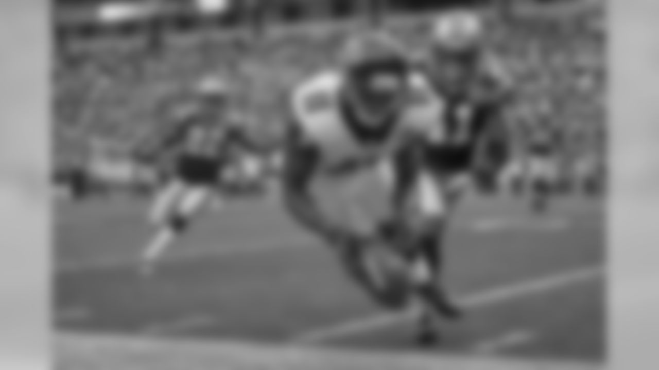 Wide receiver Julio Jones makes a catch along the sideline against Carolina.