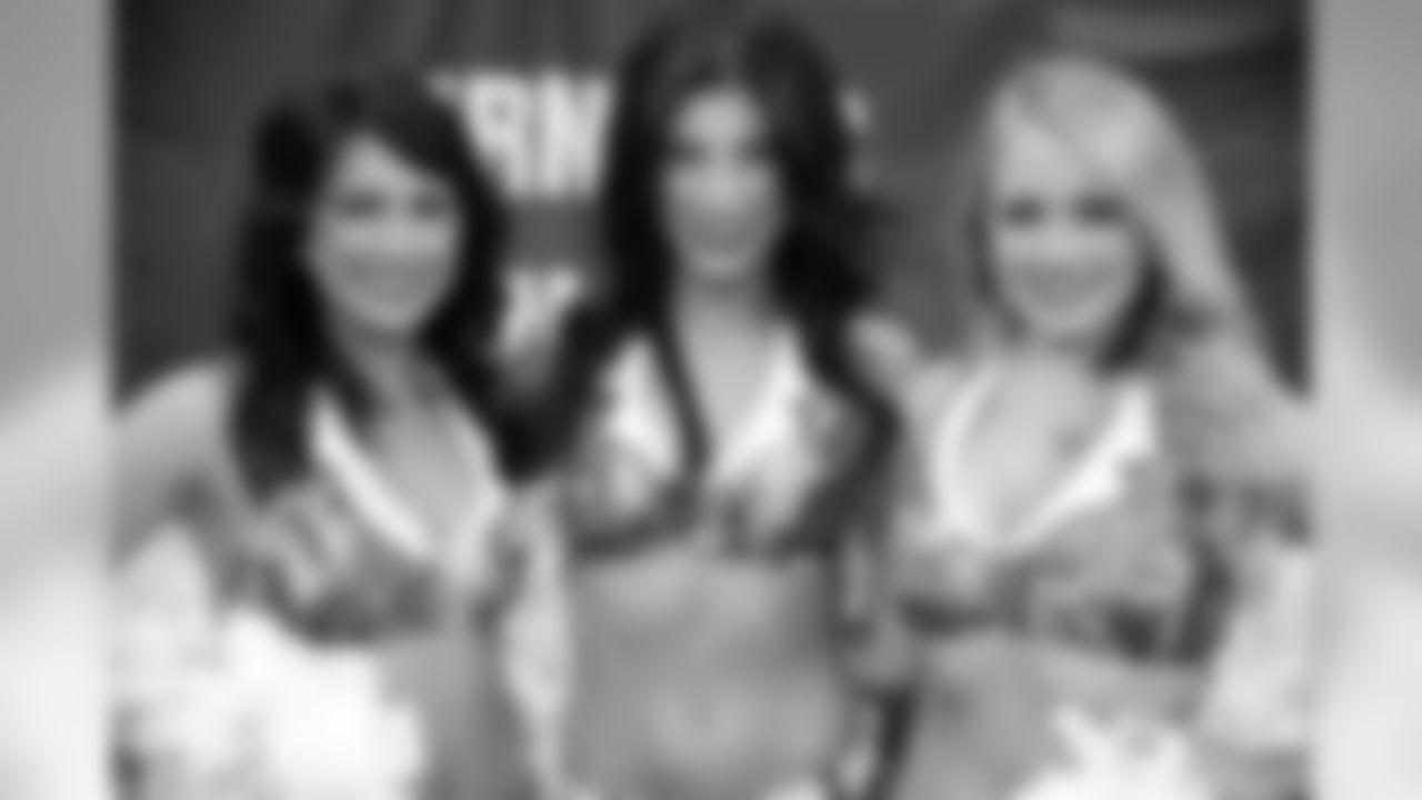Atlanta Falcons Cheerleaders Kelsey G., Cameron A., and Ashley G.