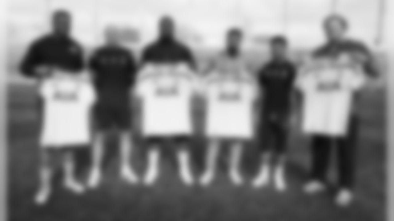 From left to right: 49ers DT Lawrence Okoye, Tottenham Goalkeep Brad Friedel, Odell Beckham Jr.,Tottenham Defender DeAndre Yedlin and Bills Center Eric Wood