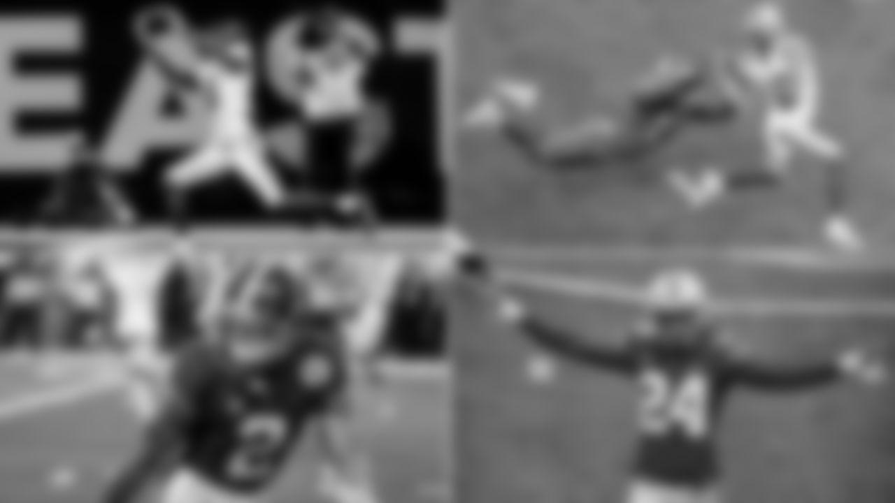 Alabama No. 6 WR Devonta Smith (AP Photo/John Bazemore), Ohio State No. 2 WR Chris Olave (AP Photo/Butch Dill), Alabama No. 2 CB Patrick Surtain II (AP Photo/Michael Ainsworth), Ohio State No. 24 CB Shaun Wade (AP Photo/Jay LaPrete)