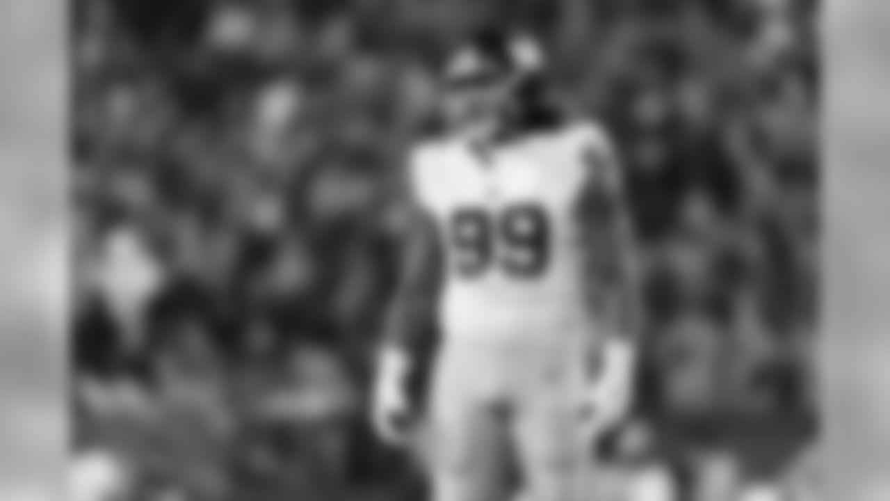 New York Giants defensive end Leonard Williams (99) looks on during an NFL football game against the Philadelphia Eagles, Monday, Dec. 9, 2019, in Philadelphia. The Eagles defeated the Giants in overtime, 23-17. (Ryan Kang via AP)