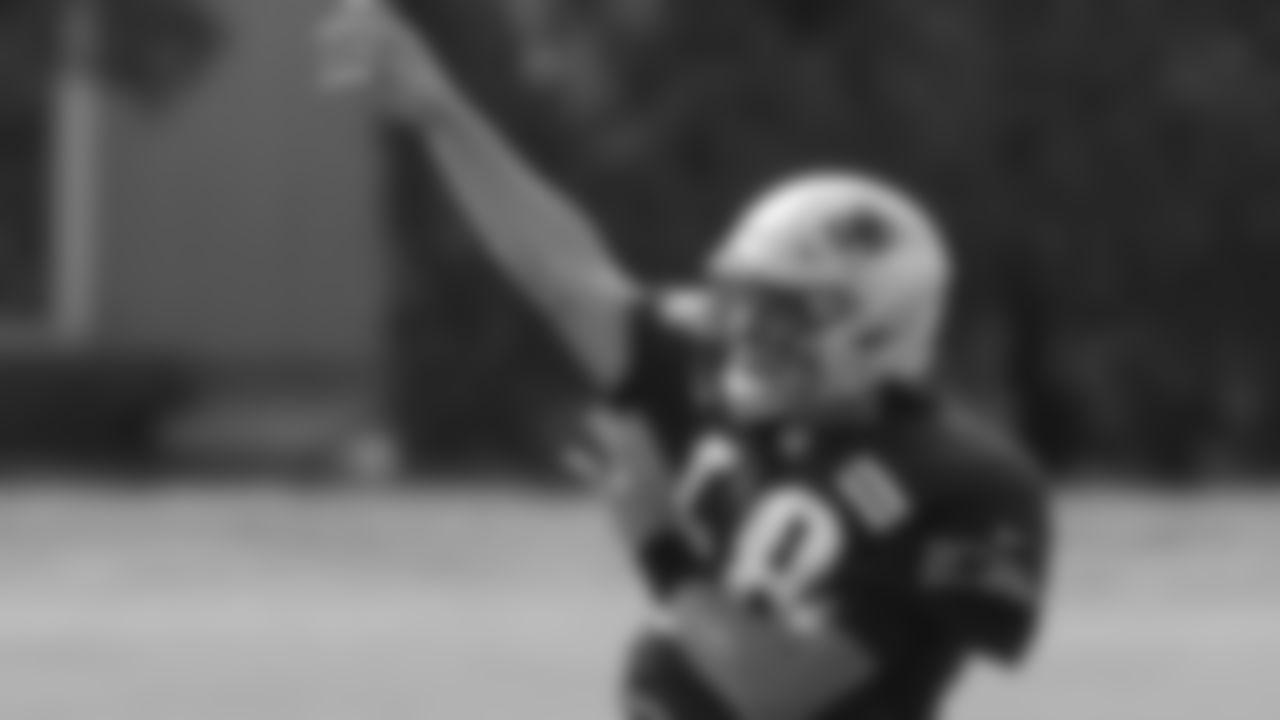 New England Patriots quarterback Brian Lewerke passes during an NFL football training camp practice, Monday, Aug. 24, 2020, in Foxborough, Mass. (AP Photo/Steven Senne, Pool)