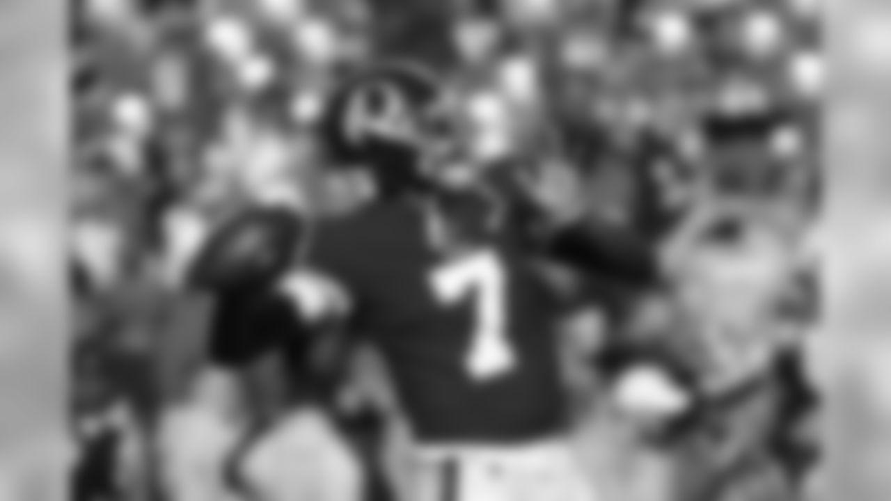 Washington Redskins quarterback Dwayne Haskins warming up before the start of the first half of an NFL football game, Sunday, Dec. 15, 2019, in Landover, Md. (AP Photo/Patrick Semansky)