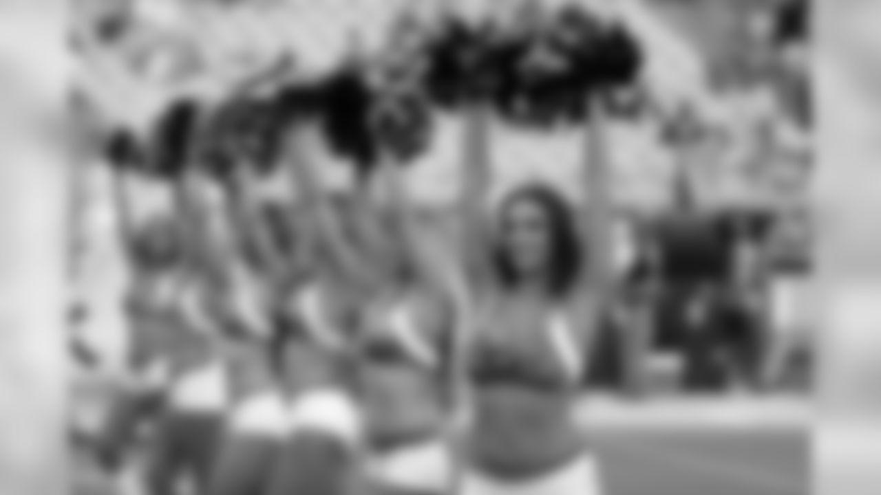 Jacksonville Jaguars cheerleaders perform during the first half of an NFL preseason football game against the Philadelphia Eagles, Thursday, Aug. 15, 2019, in Jacksonville, Fla. (AP Photo/John Raoux)