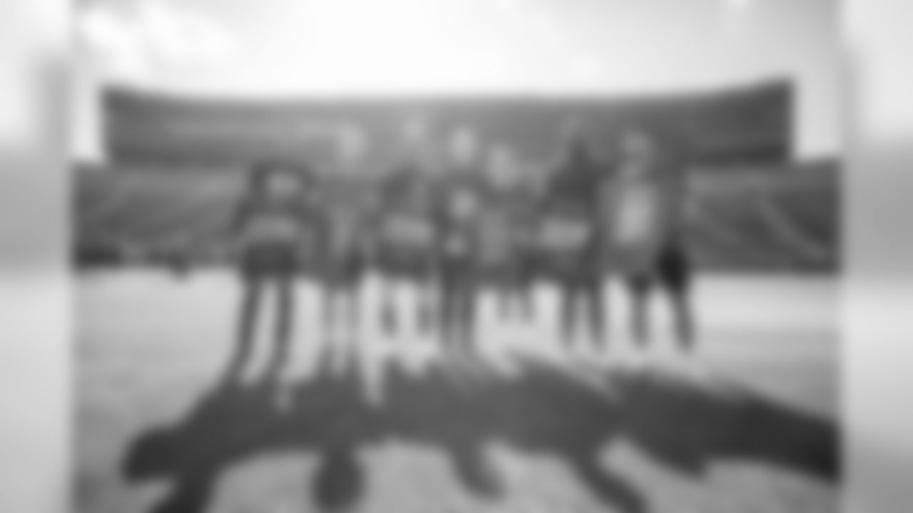 Marvin Jones Jr., Ivan Rakitić, Kerryon Johnson, Marc-André ter Stegen, Antoine Griezmann, A'Shawn Robinson and Luis Suárez on Friday, Aug. 9, 2019 in Ann Arbor, Mich.