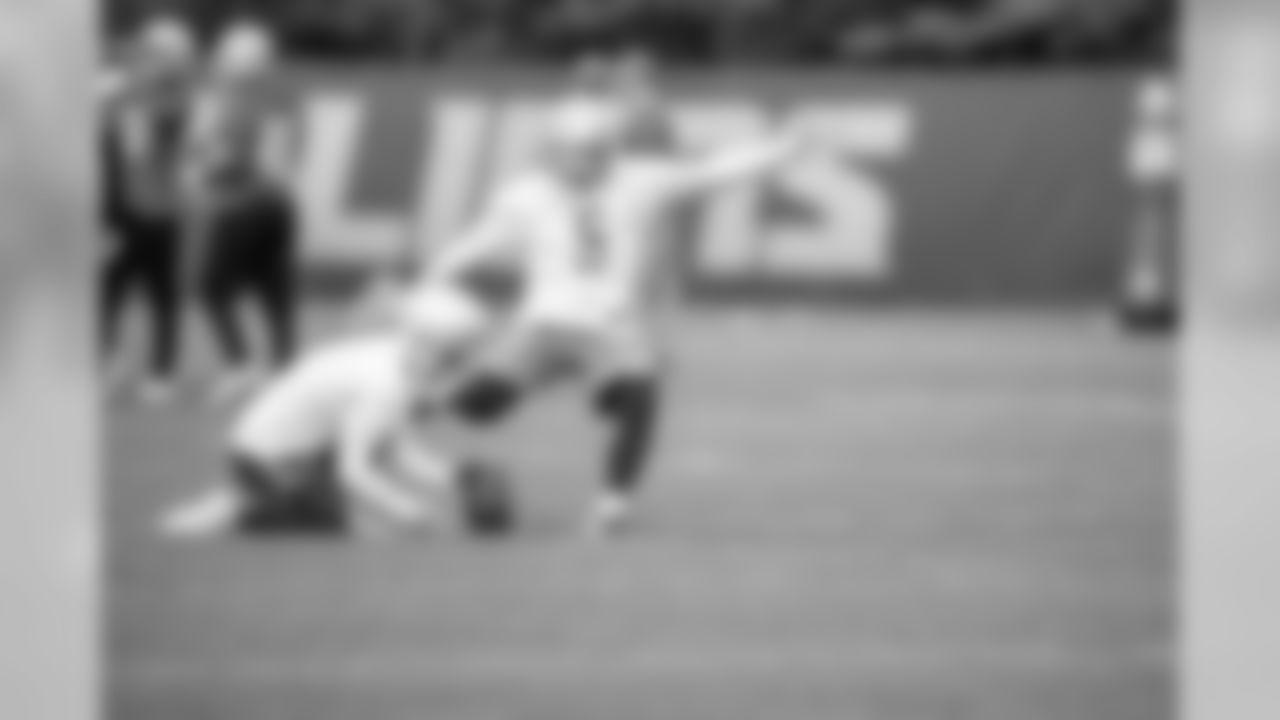 Detroit Lions kicker Matt Prater (5) during Day 1 of OTAs on Monday, May 20, 2019 in Allen Park, Mich. (Detroit Lions via AP)