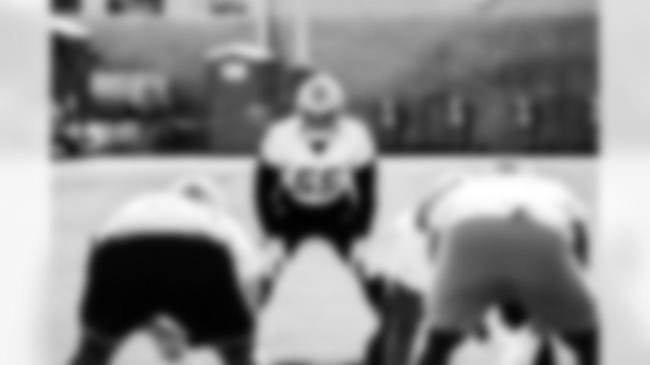 Detroit Lions linebacker Derrick Barnes (55) during Lions practice at the Training Facility in Allen Park, MI on October 1, 2021. (Jeff Nguyen/Detroit Lions)