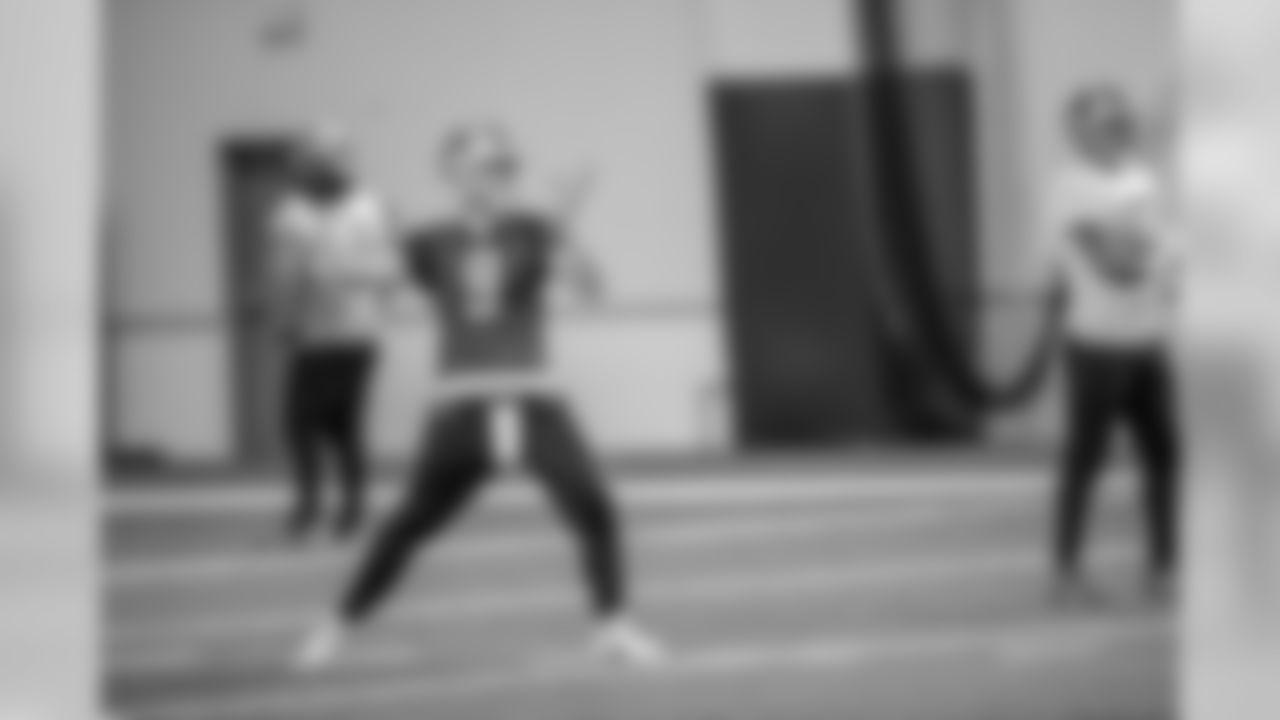 Detroit Lions quarterback Matthew Stafford (9) during practice at the Detroit Lions training facility Thursday, Oct. 31, 2019 in Allen Park, Mich. (Detroit Lions via AP)