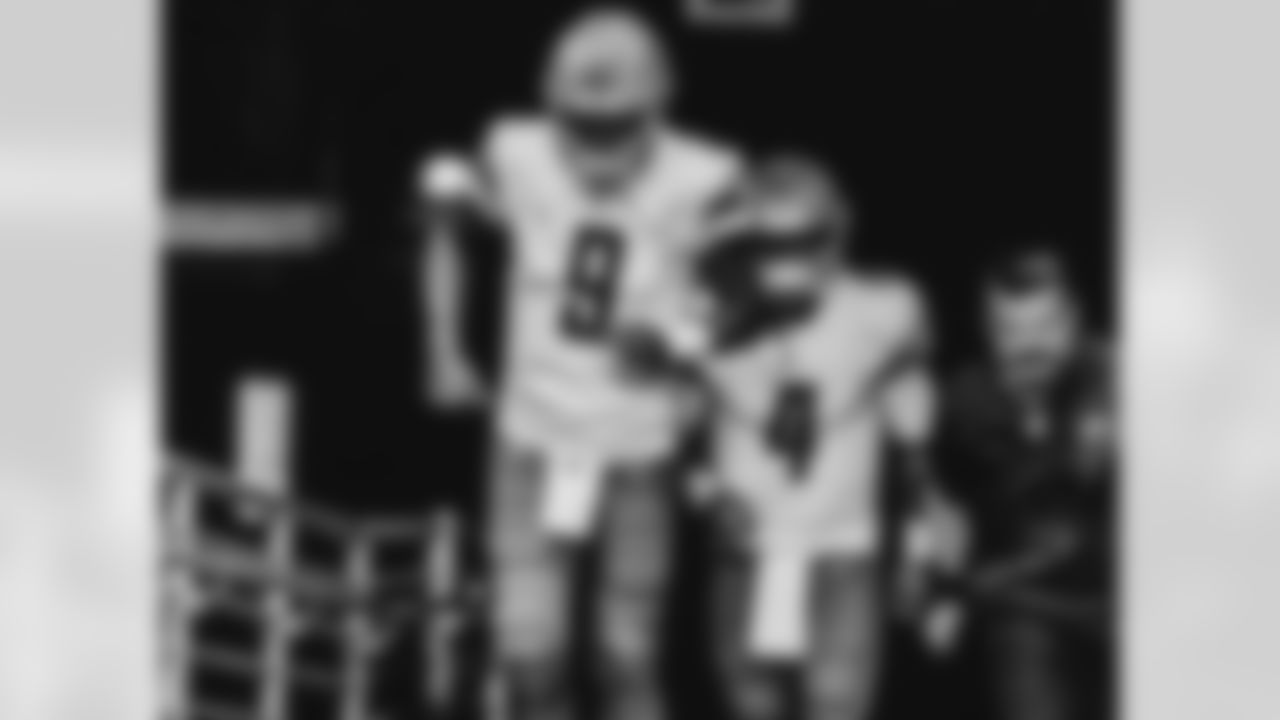 Detroit Lions quarterback Matthew Stafford (9) Detroit Lions quarterback Chase Daniel (4) during a NFL football game against the Arizona Cardinals on Sunday, Sept. 27, 2020 in Glendale, AZ. (Detroit Lions via AP).
