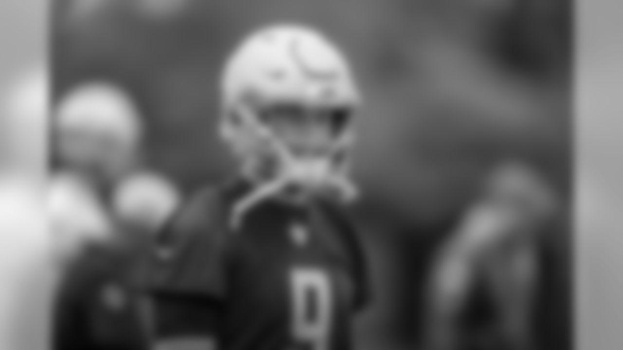 Detroit Lions quarterback Matthew Stafford (9) smiles during Day 3 of minicamp on Thursday, June 6, 2019 in Allen Park, Mich. (Detroit Lions via AP)