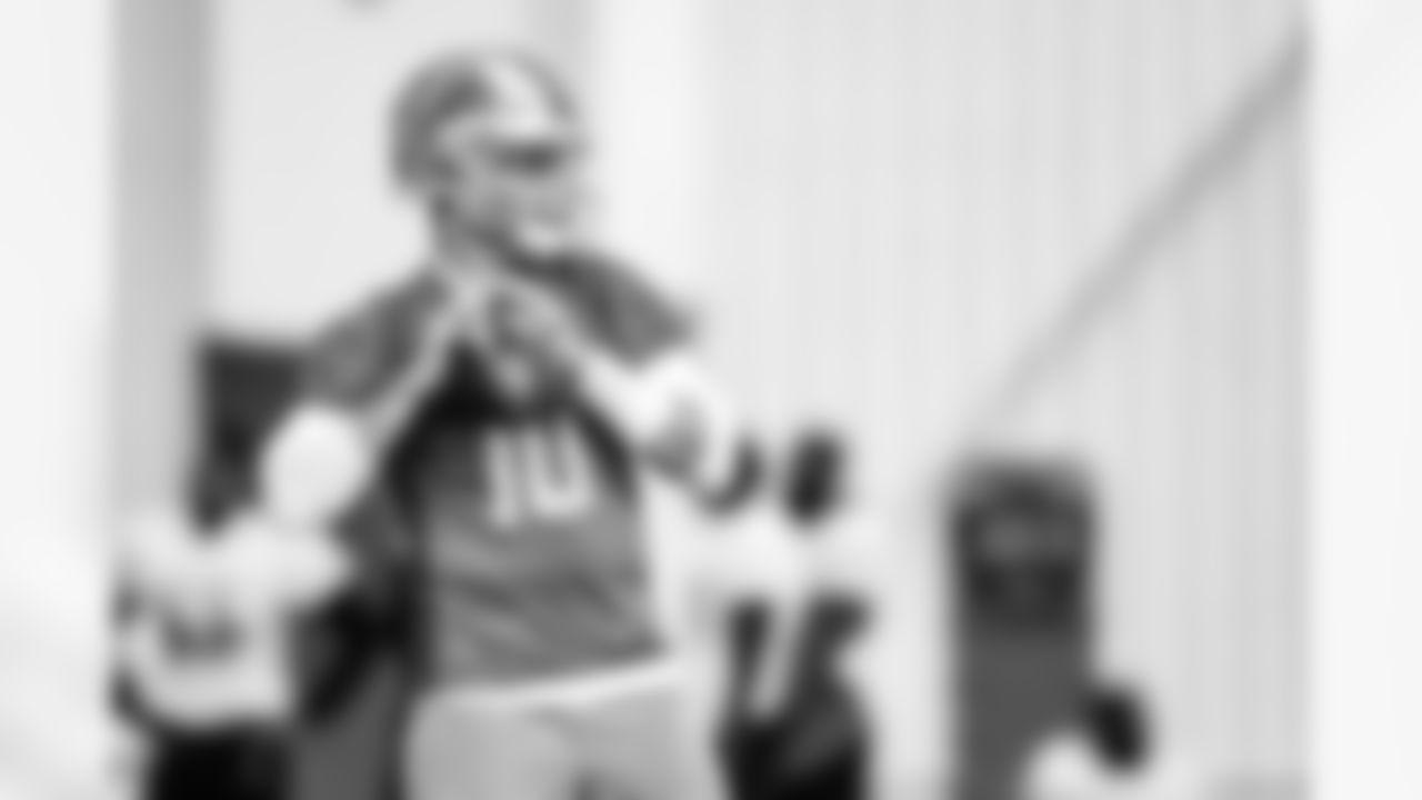 Detroit Lions quarterback David Blough (10) during practice at the Training Facility in Allen Park, MI on September 18, 2021. (Josh Mandujano/Detroit Lions)