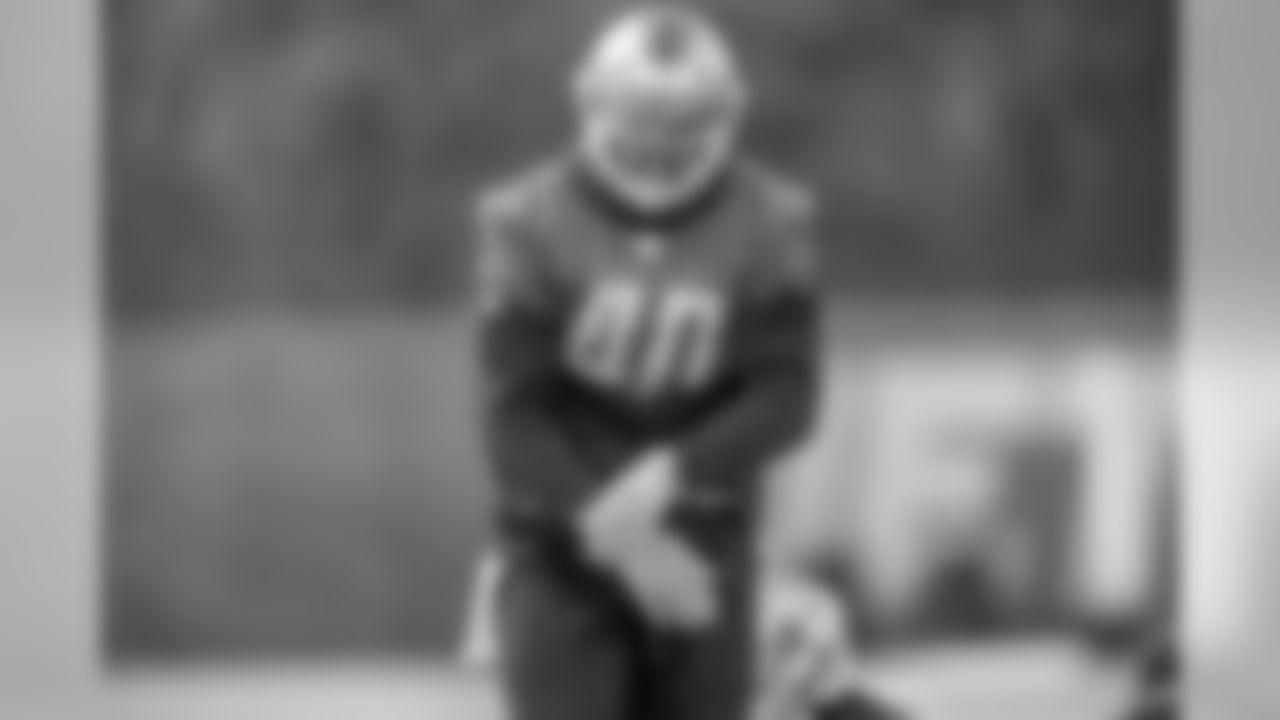 Detroit Lions linebacker Jarrad Davis (40) during practice at the Detroit Lions training facility Friday, Dec. 6, 2019 in Allen Park, Mich. (Detroit Lions via AP)