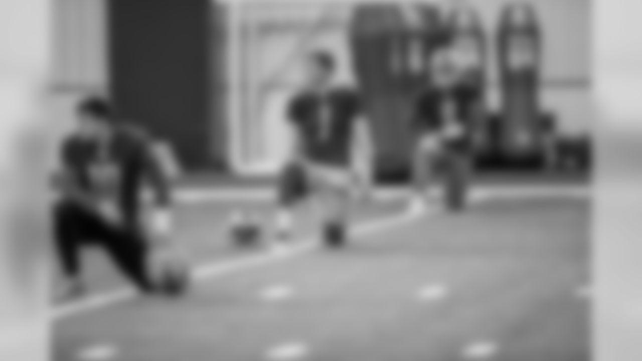 Detroit Lions quarterback Kyle Sloter (1) during practice at the Detroit Lions training facility Wednesday, Dec. 18, 2019 in Allen Park, Mich. (Detroit Lions via AP)