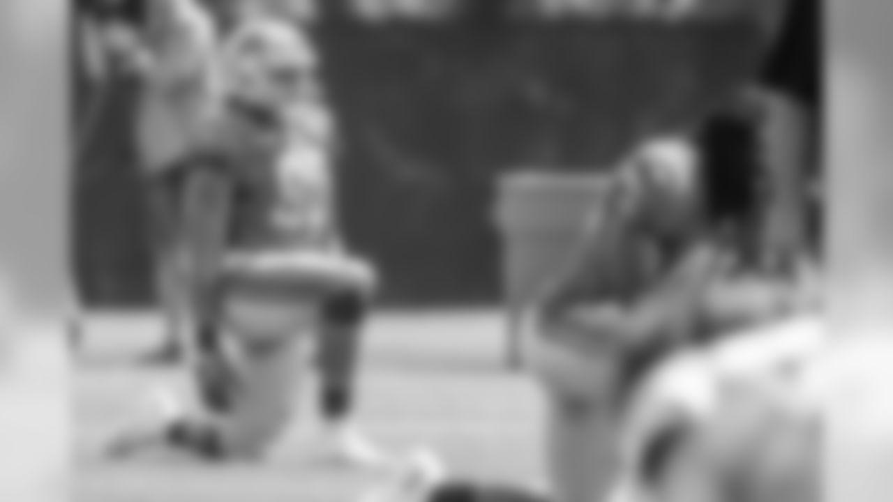 Detroit Lions defensive end Trey Flowers (90) during practice at the Detroit Lions training facility Wednesday, Sept. 11, 2019 in Allen Park, Mich. (Detroit Lions via AP)